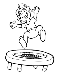 kid jumping on the troline coloring page