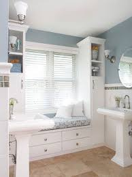 ... Built-in window seat in large bathroom