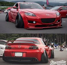 mazda rx8 modified red. mazda rx8 camber stance widebody slammed modified red