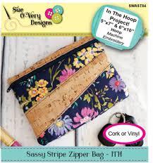 Sue O Very Designs Sassy Stripe Zipper Bag Ith By Overy Sue Zipper Bags