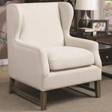 Accent Wingback Chairs Coaster 902490 Wing Back Accent Chair Oatmeal Tone Fabric Upholstery