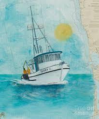 Paintings On Nautical Charts Terry F Crab Fishing Boat Cathy Peek Nautical Chart Map Art