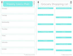 Craft Sew Create Free Printable Menu Plan Shopping List