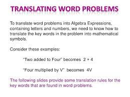 it s your job to translate these words to math age and if you want to solve the math problem in seconds you ll need to ficient at doing just