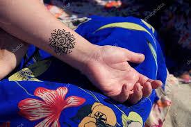 Mehendy Henna Tetování Na Ruku Mandaly Stock Fotografie