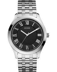shop men s guess watches from 42 lyst guess men ́s classic stainless steel r numeral black dial analog bracelet watch lyst
