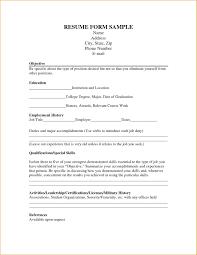 Sample Of Resume Letter For Job resume Form Resume Job 59