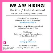 Outhouse Lgbt Community Centre Jobs, Barista Cafe Assistant In ...