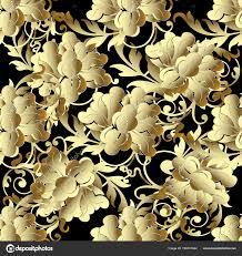 Baroque Gold 3d flowers seamless ...