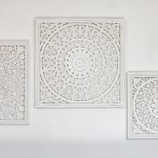 large off white carved wall panel