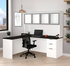 white l shaped desk. Interesting White Modern LShaped Desk U0026 Hutch With Frosted Glass Doors In White  Deep Gray And L Shaped H