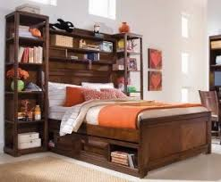 Queen Storage Bed With Bookcase Headboard And Lamps