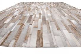 gray beige and white patchwork leather area rug in stripes