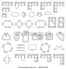 Standard Furniture Symbols Used In Architecture Plans Icons Set Furniture Icons For Floor Plans