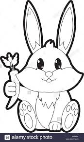 Outline Adorable Rabbit Wild Animal With Carrot In The Hand Stock