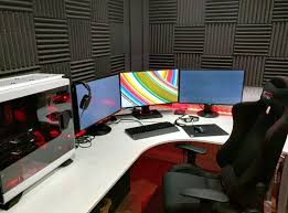 l shaped desk gaming setup. Simple Desk White Gaming Computer Desk Setup Battle Station Corner L Shaped Desk IKEA  With Triple Monitors Display And Black Chair Inside Shaped C