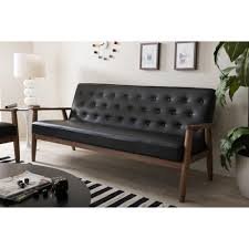 soro mid century black faux leather upholstered sofa