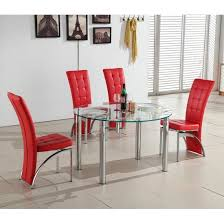 oasis round extending glass dining table and 4 red chairs