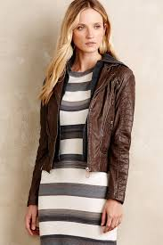 lyst doma leather hooded moto jacket in brown