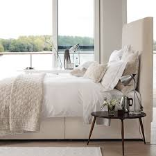 Neutral Bedroom Design High Fabric Headboard Cream Neutral Bedroom Home Sweet Home