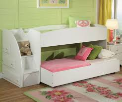 low bunk bed with trundle desk