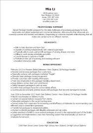 Resume Template Package Handler Resume Sample Free Career Resume