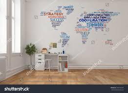 teamwork office wallpaper. Teamwork Concept On World Map A Wall In Home Office Over Desk (3D Rendering Wallpaper