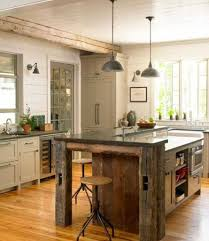 aged-kitchen-island-design-with-antique-pendant-lamps-and-rustic