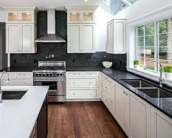 white cabinets black granite kitchen ideas countertop blue backsplash