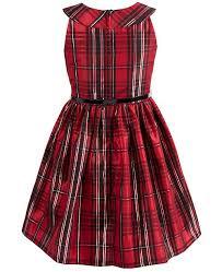 Big Girls Plus Size Belted Plaid Taffeta Dress