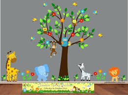 jungle wall stickers blue elephant zoo animals friends wall decal sticker not on the high street