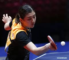 chen meng of china returns to amelie solja of austria during their women s group quarterfinal match during 2018 world team table tennis championships in