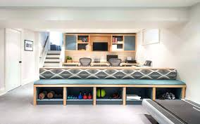 workout room decor gym storage ideas basement contemporary with built in bench office combo double duty home workout room storage ideas r48 storage