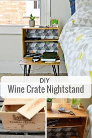 upcycle an old wine box into a fabulous diy nightstand decoupage the inside to match