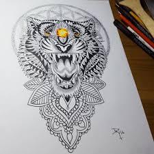 оригинальный универсальный эскиз тату тигры 147