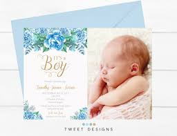 Baby Thankyou Blue Floral Birth Announcement Baby Thankyou Card Floral Blue Boy