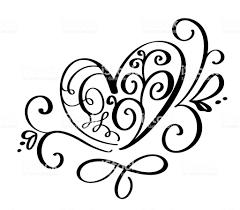 ベクトル繁栄書道ヴィンテージ ハートのバレンタインの日手描きスケッチ風手書き書道バレンタイン愛と結婚