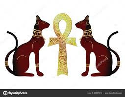 Egyptian Cats Antique Golden Ankh Egyptian Religious Symbol Bastet Ancient  Stock Vector Image by ©robin_ph #243974014