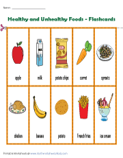 Which of the following food item if consumed more can make us sick? Healthy And Unhealthy Food Worksheets