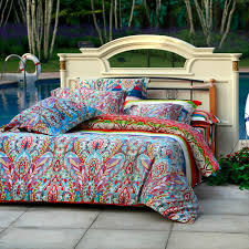 Aqua Blue Green and Red Colorful Bohemian Tribal Print Luxury 100 ... & Aqua Blue Green and Red Colorful Bohemian Tribal Print Luxury 100% Egyptian  Cotton Full, Queen Size Bedding Sets Adamdwight.com
