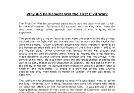 why did parliament win the first civil war    a level history    document image preview