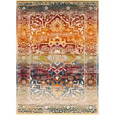srp1011 2773 traditional red and orange 7 foot runner rug serapi