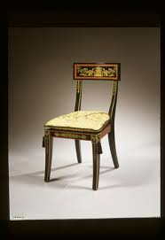 Gilded Design Black Painted Chair With Federal Inspired Gilded Design