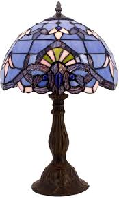 Details About Blue Purple Baroque Tiffany Style Table Lamp Stained Glass Lampshade Antique