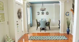 indoor outdoor rug in the foyer dining room wide shot 940