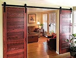 sliding barn doors. diyhd 10ft bent straight rustic black double sliding barn door hardware track kit doors n
