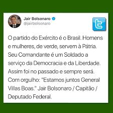 Resultado de imagem para Jair Bolsonaro (PSL) declarou apoio em rede social nesta quarta-feira (4) ao comandante do Exército