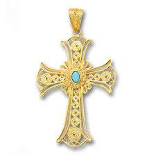 18k solid gold and turquoise filigree large byzantine cross pendant culturetaste