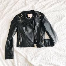details about pink envelope faux vegan leather jacket black biker moto gold zip studded punk m