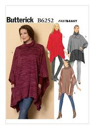 Poncho Sewing Pattern Interesting B48 Misses' CowlNeck Ponchos Sewing Pattern Butterick Patterns